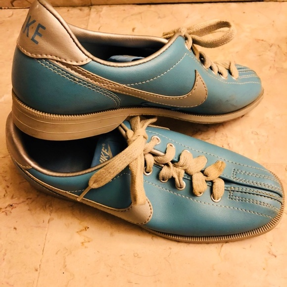 discount shop best sellers detailed look Vintage Nike Bowling Shoes Size 7 Retro Blue Sport